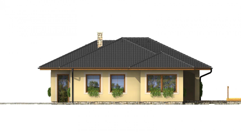 Pohľad 2. - Členitý projekt rodinného domu s oddelenou dennou a nočnou časťou.