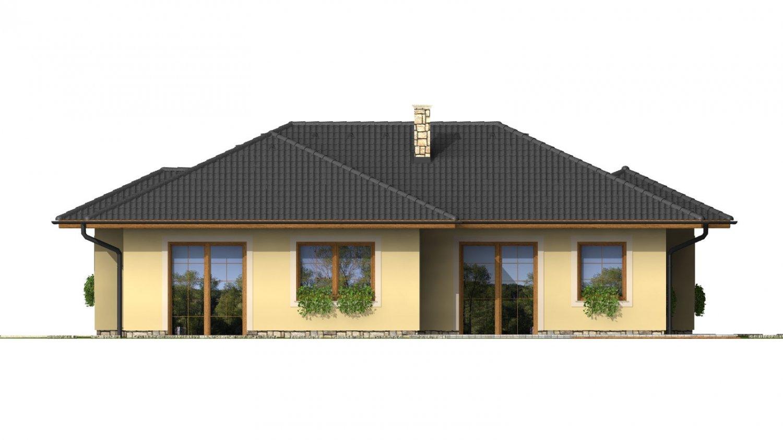 Pohľad 3. - Členitý projekt rodinného domu s oddelenou dennou a nočnou časťou.