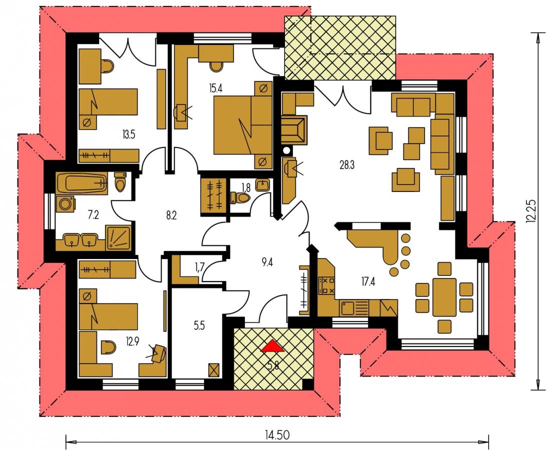 Pôdorys Prízemia - Členitý projekt rodinného domu s oddelenou dennou a nočnou časťou.