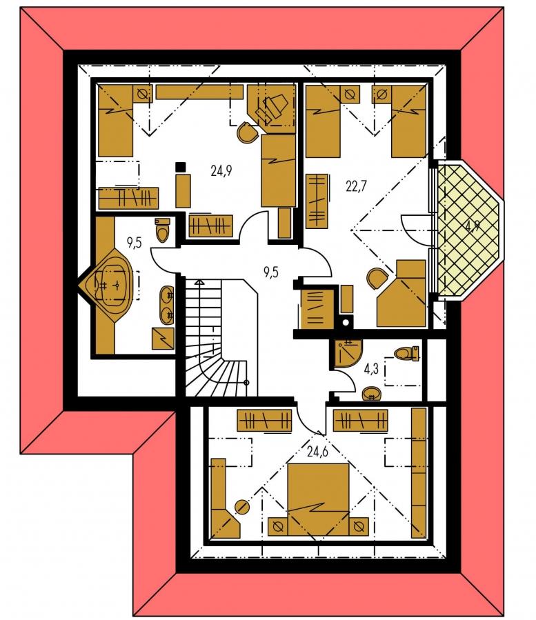 Pôdorys Poschodia - Exkluzívny rodinný dom s obytným podkrovím.