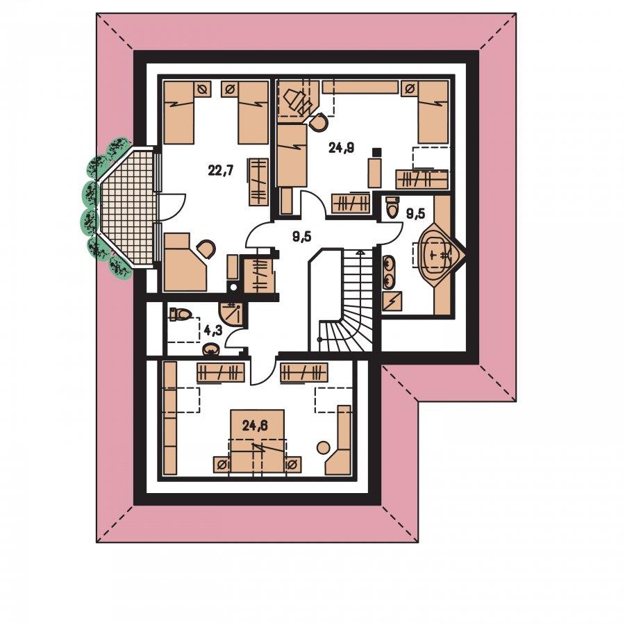 Pôdorys Poschodia - Exkluzívny bungalov s obytným podkrovím