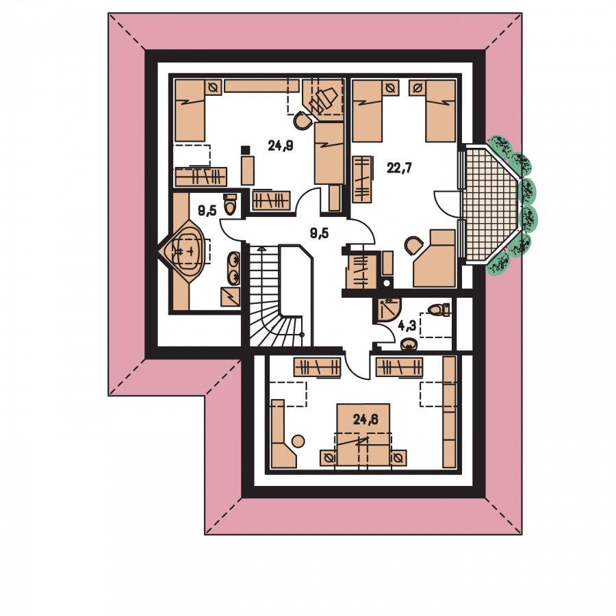 Pôdorys Poschodia - Exkluzívny rodinný dom s obytným podkrovím