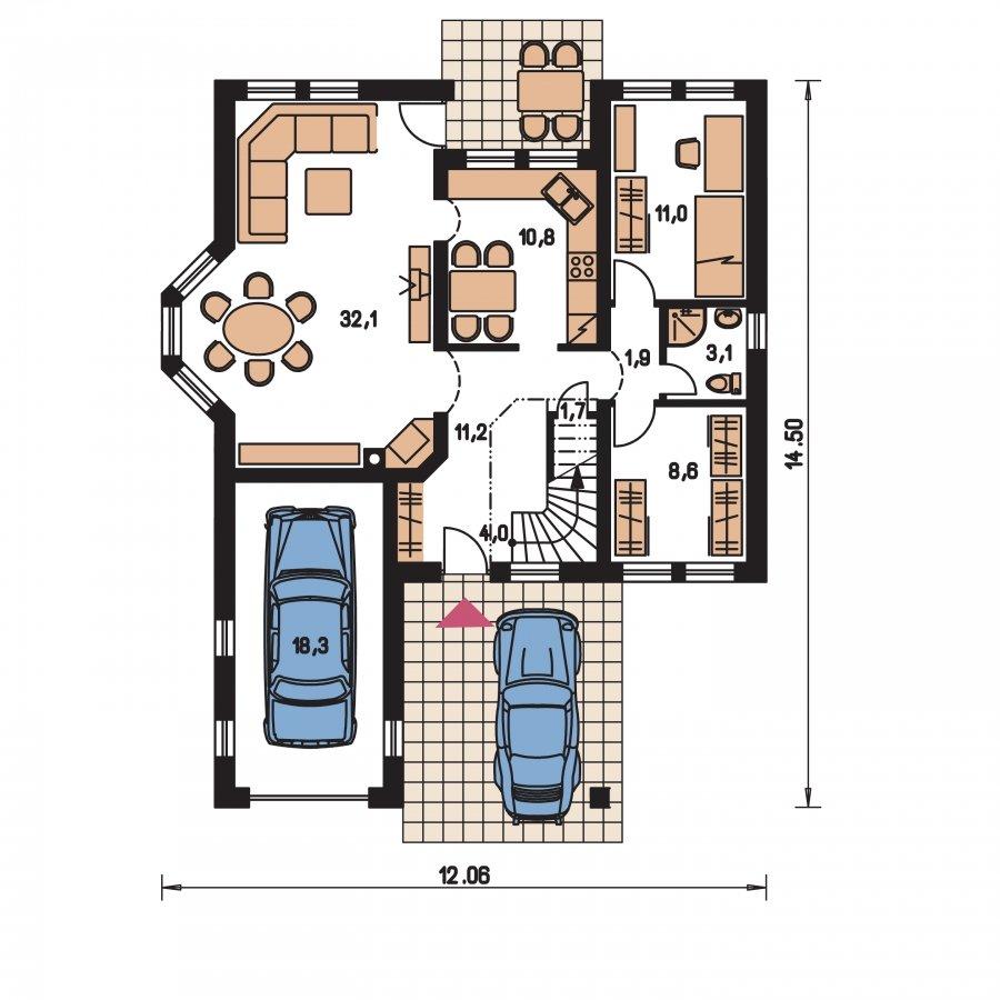 Pôdorys Prízemia - Exkluzívny rodinný dom s obytným podkrovím