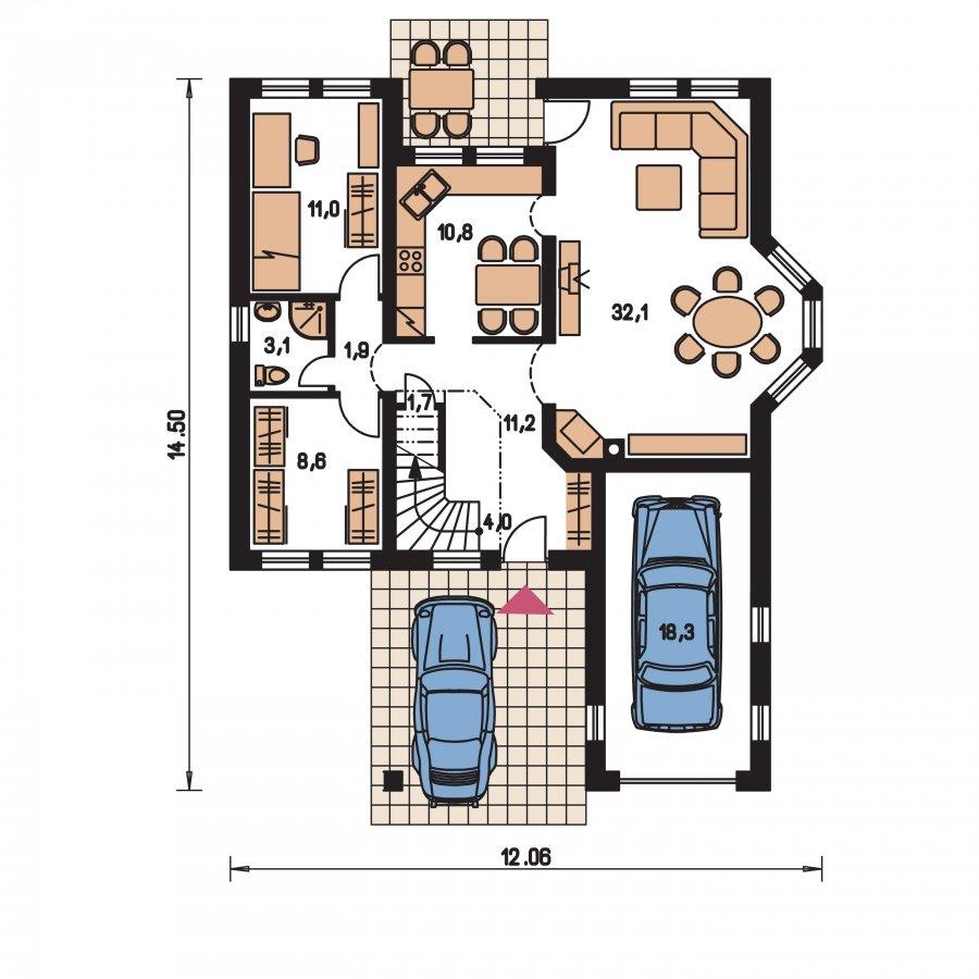 Pôdorys Prízemia - Exkluzívny bungalov s obytným podkrovím