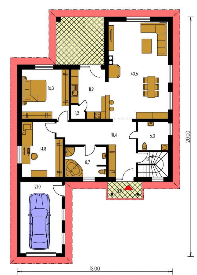 Pôdorys Prízemia - Nádherný murovaný dom s garážou a priestranným suterénom. Možnosť realizácie bez suterénu.