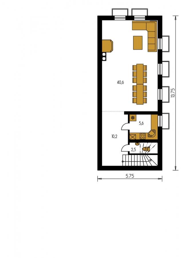 Pôdorys Poschodia - Nádherný murovaný dom s garážou a priestranným suterénom. Možnosť realizácie bez suterénu.