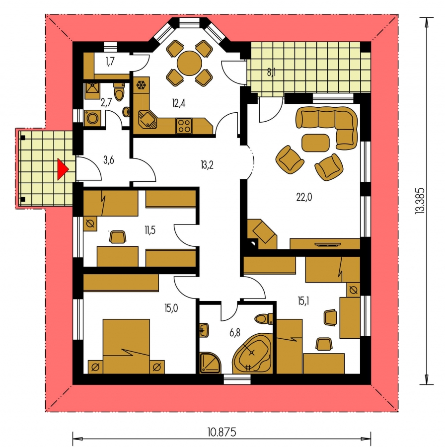 Pôdorys Prízemia - Rodinný dom s valbovou strechou a oblúkovou jedálňou.
