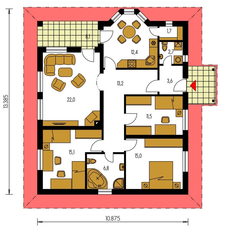 Pôdorys Prízemia - Rodinný dom s valbovou strechou a oblúkovou jedálňou