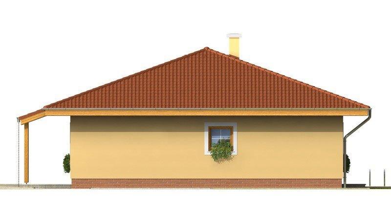 Pohľad 4. - Rodinný dom s valbovou strechou a oblúkovou jedálňou
