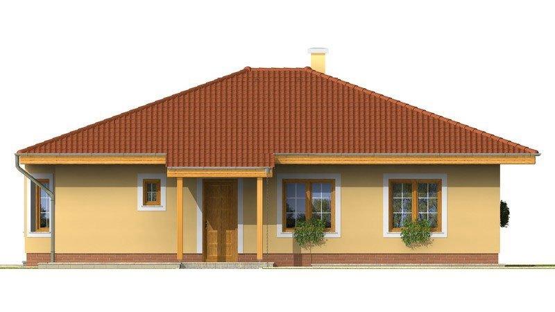 Pohľad 1. - Rodinný dom s valbovou strechou a oblúkovou jedálňou.