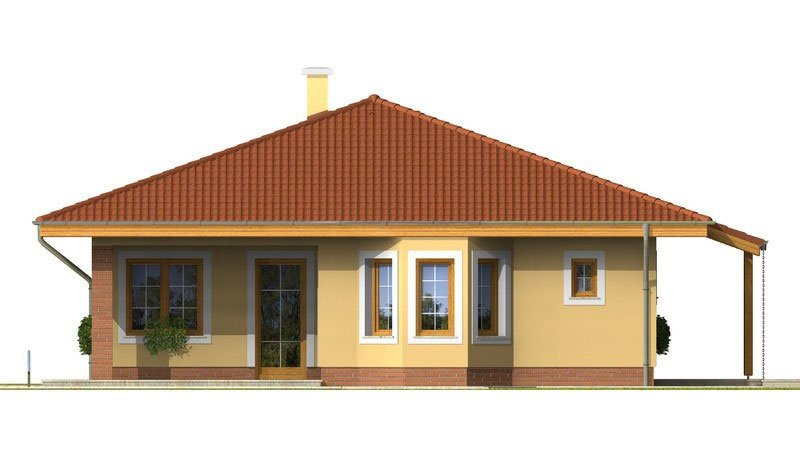 Pohľad 2. - Rodinný dom s valbovou strechou a oblúkovou jedálňou.