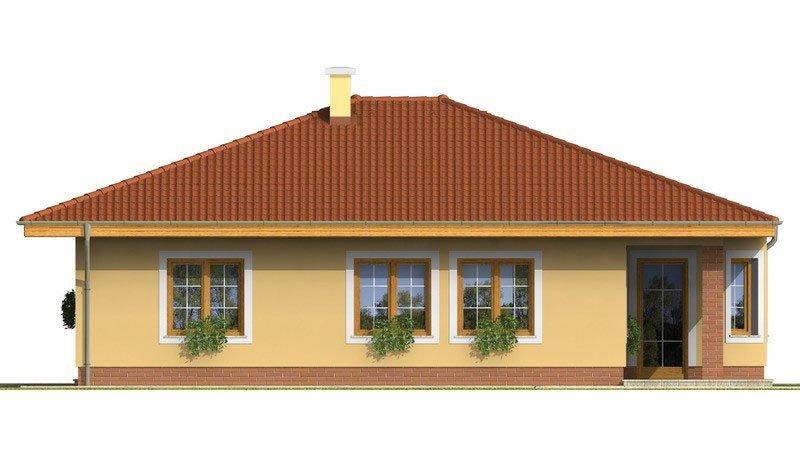 Pohľad 3. - Rodinný dom s valbovou strechou a oblúkovou jedálňou.
