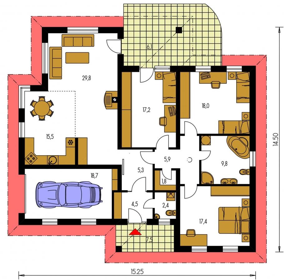 Pôdorys Prízemia - Väčší prízemný rodinný dom s garážou.