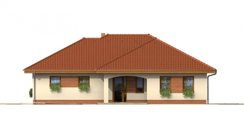Pohľad 1. - Väčší prízemný rodinný dom s garážou.