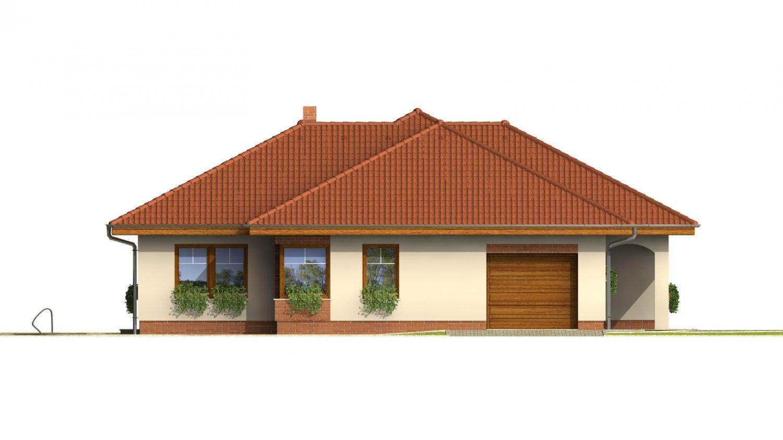 Pohľad 2. - Väčší prízemný rodinný dom s garážou.