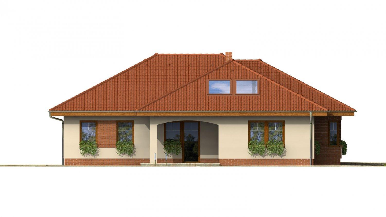 Pohľad 3. - Väčší prízemný rodinný dom s garážou.