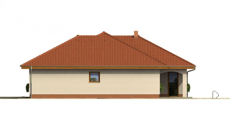 Pohľad 4. - Väčší prízemný rodinný dom s garážou.