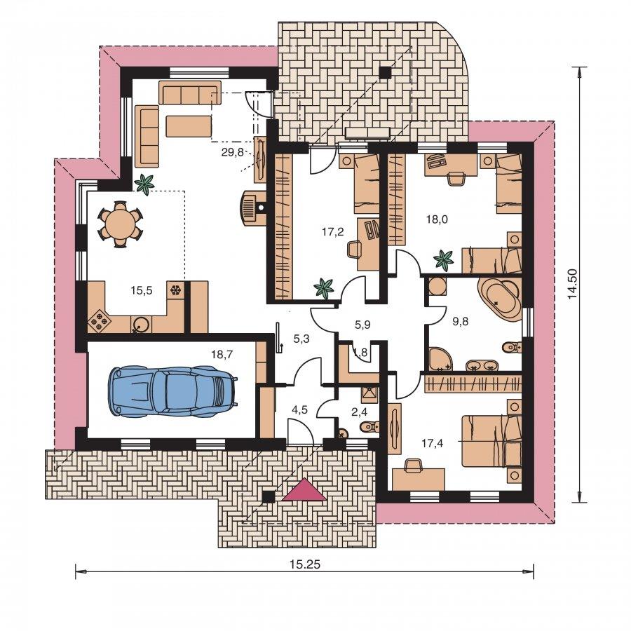 Pôdorys Prízemia - Dom s garážou, terasou a bočným vstupom