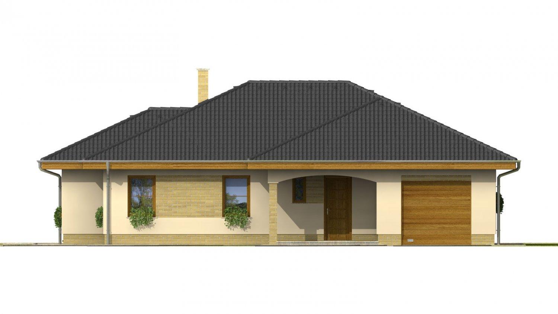 Pohľad 1. - Dom do L s garážou a oddelenou kuchyňou s jedálňou.