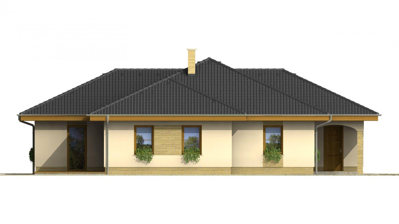 Pohľad 2. - Dom do L s garážou a oddelenou kuchyňou s jedálňou.