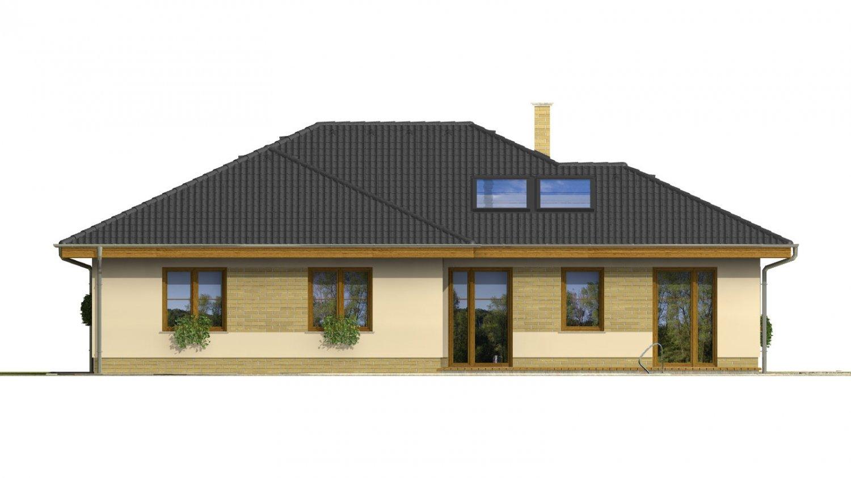 Pohľad 3. - Dom do L s garážou a oddelenou kuchyňou s jedálňou.