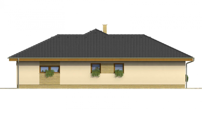 Pohľad 4. - Dom do L s garážou a oddelenou kuchyňou s jedálňou.