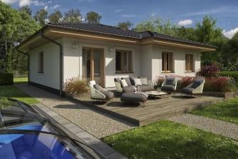 Prízemný dom s valbovou strechou bez garáže.