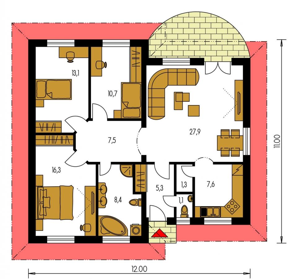 Pôdorys Prízemia - Dom s valbovou strechou a krytou terasou