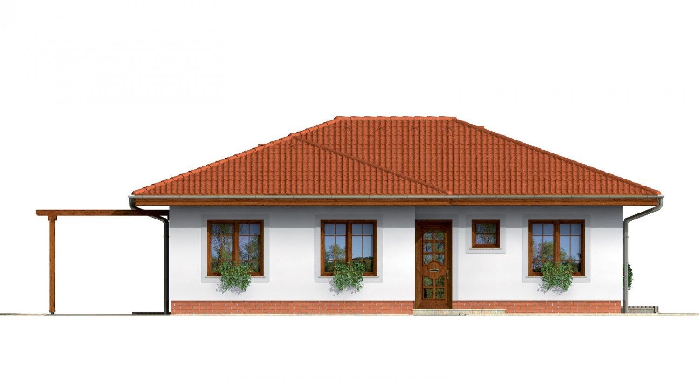 Pohľad 1. - Prízemný dom s valbovou strechou bez garáže.