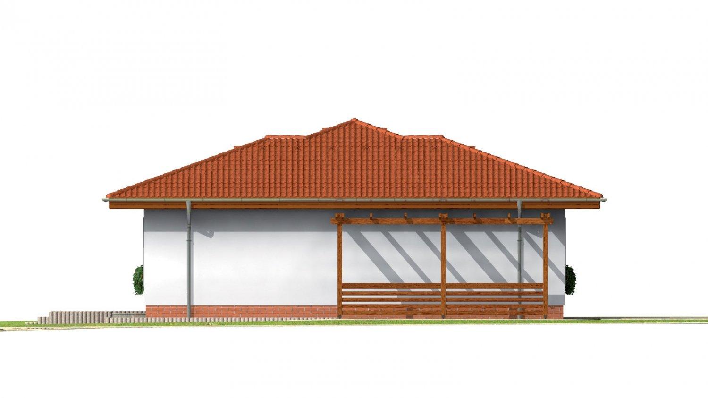 Pohľad 2. - Prízemný dom s valbovou strechou bez garáže.