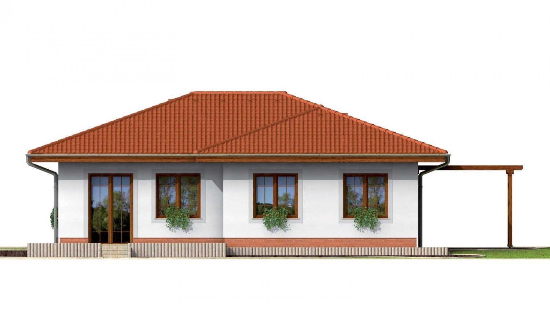 Pohľad 3. - Prízemný dom s valbovou strechou bez garáže.