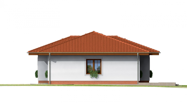 Pohľad 4. - Prízemný dom s valbovou strechou bez garáže.