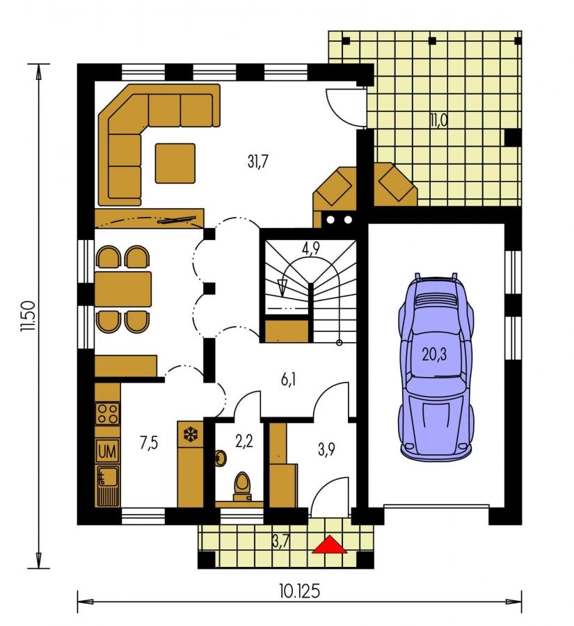 Pôdorys Prízemia - Dom s obytným podkrovím a garážou