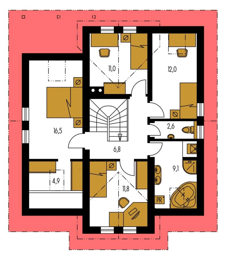 Pôdorys Poschodia - Dom s obytným podkrovím a garážou.