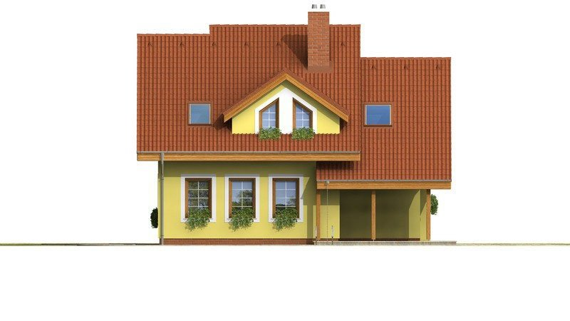 Pohľad 3. - Dom s obytným podkrovím a garážou