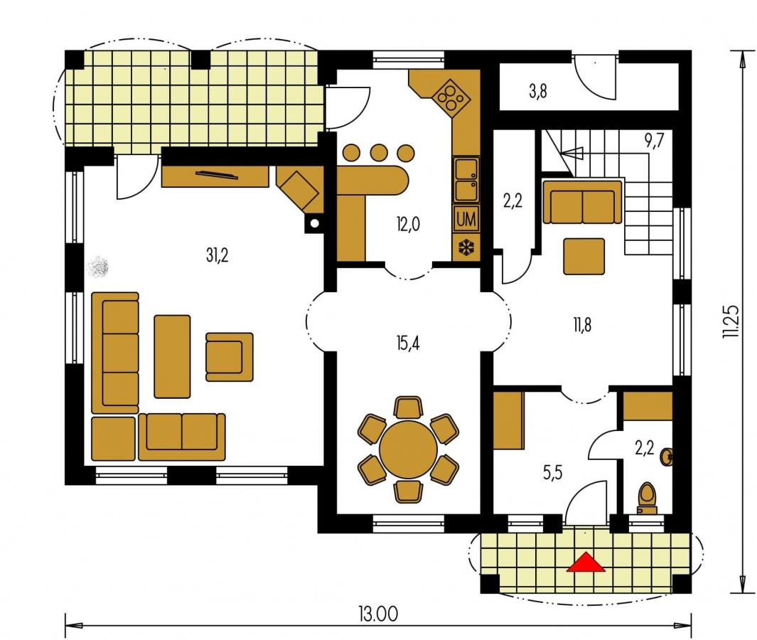 Pôdorys Prízemia - Vidiecky rodinný dom