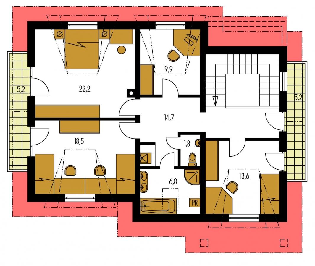 Pôdorys Poschodia - Vidiecky rodinný dom