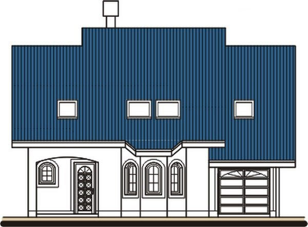 Pohľad 1. - Dom s obytným podkrovím a garážou