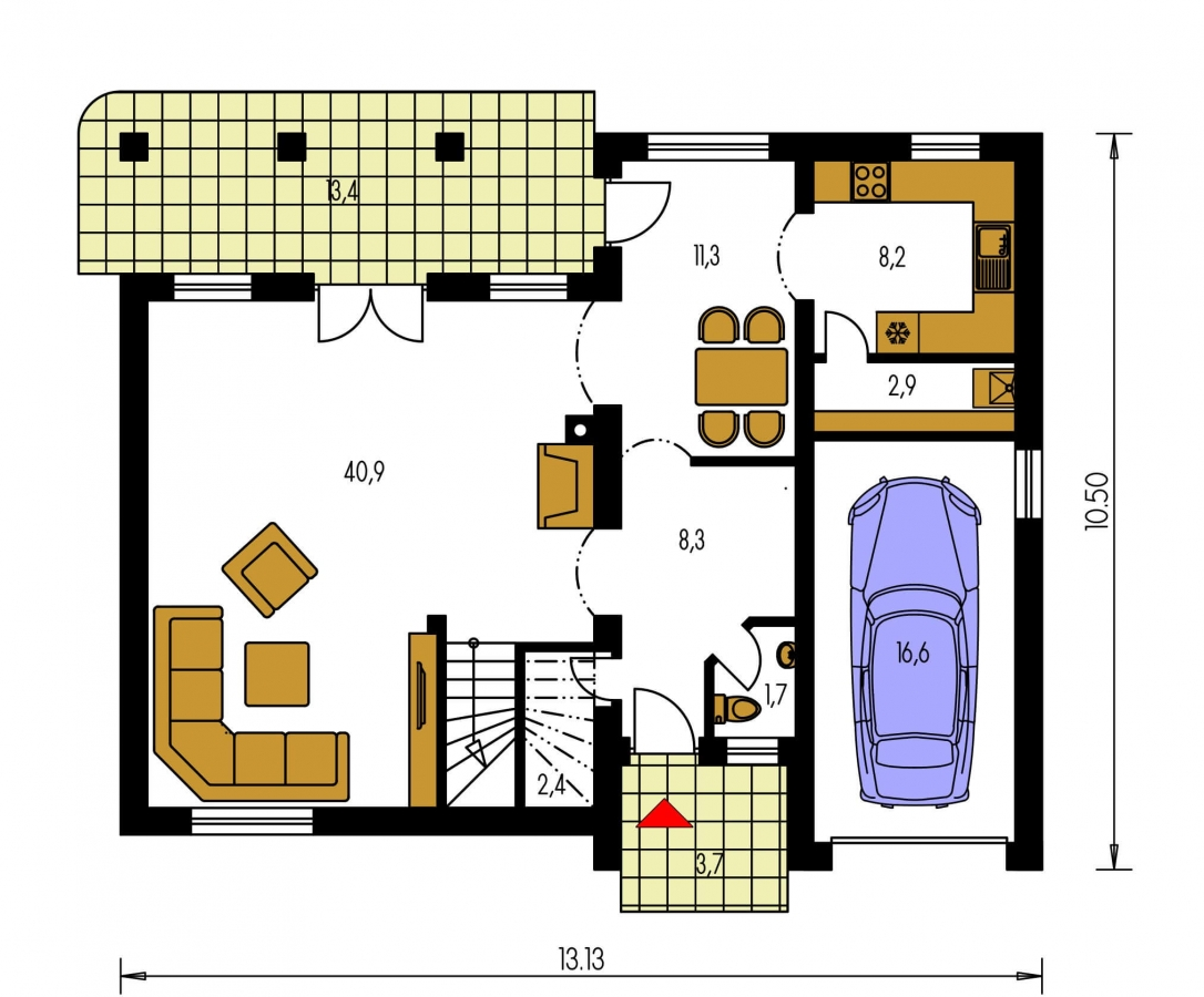 Pôdorys Prízemia - Podkrovný dom s veľkou obývačkou