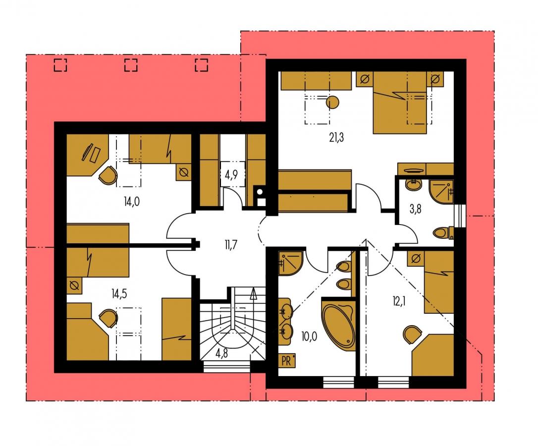 Pôdorys Poschodia - Podkrovný dom s veľkou obývačkou.