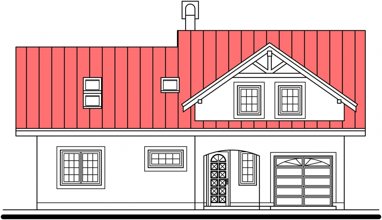 Pohľad 1. - Podkrovný dom s veľkou obývačkou.