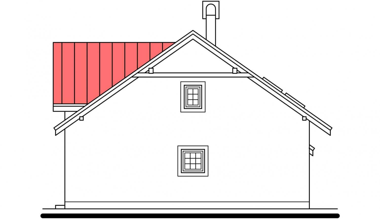Pohľad 2. - Podkrovný dom s veľkou obývačkou.