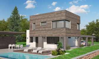 Moderný dom s krytým státím aut