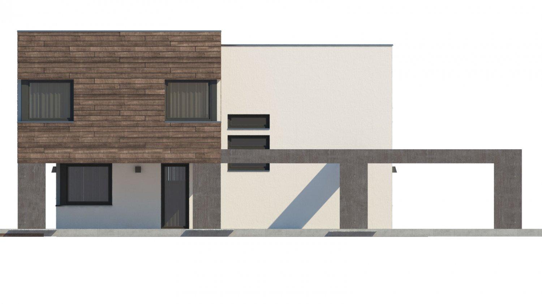 Pohľad 4. - Moderný dom s krytým státím aut.