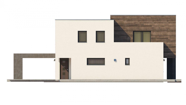 Pohľad 2. - Moderný dom s krytým státím aut.