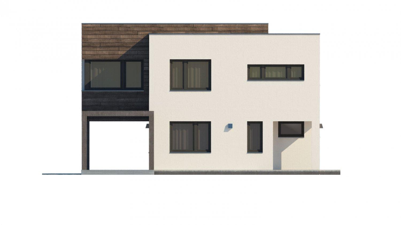 Pohľad 1. - Moderný dom s krytým státím aut.