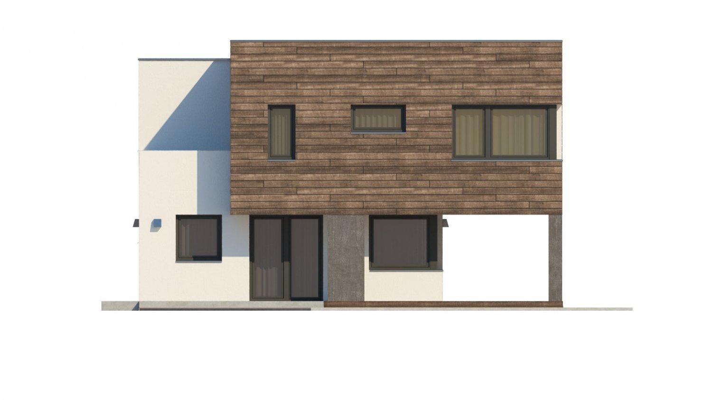 Pohľad 3. - Moderný dom s krytým státím aut.