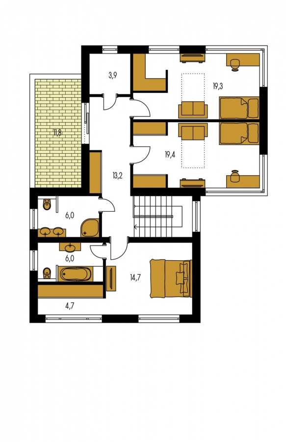 Pôdorys Poschodia - Moderný dom s krytým státím aut.