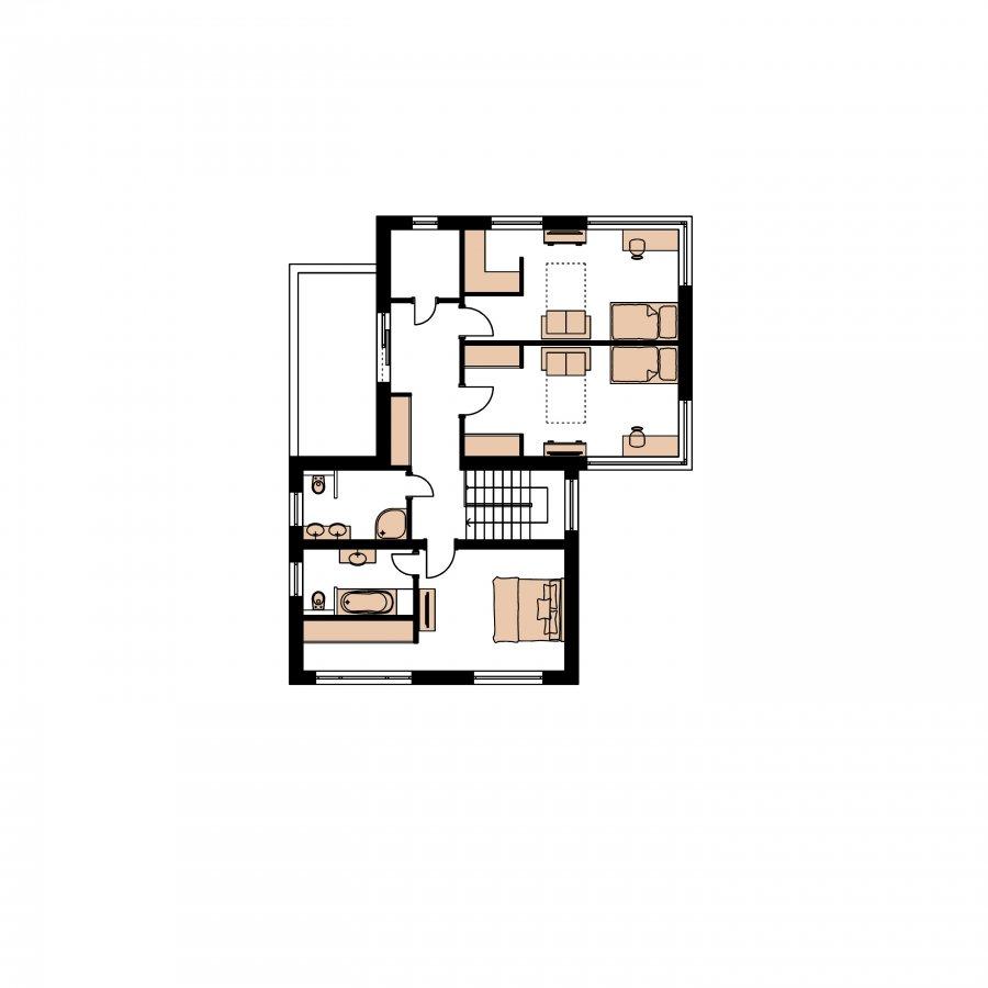 Pôdorys Poschodia - Moderný dom s krytým státím aut