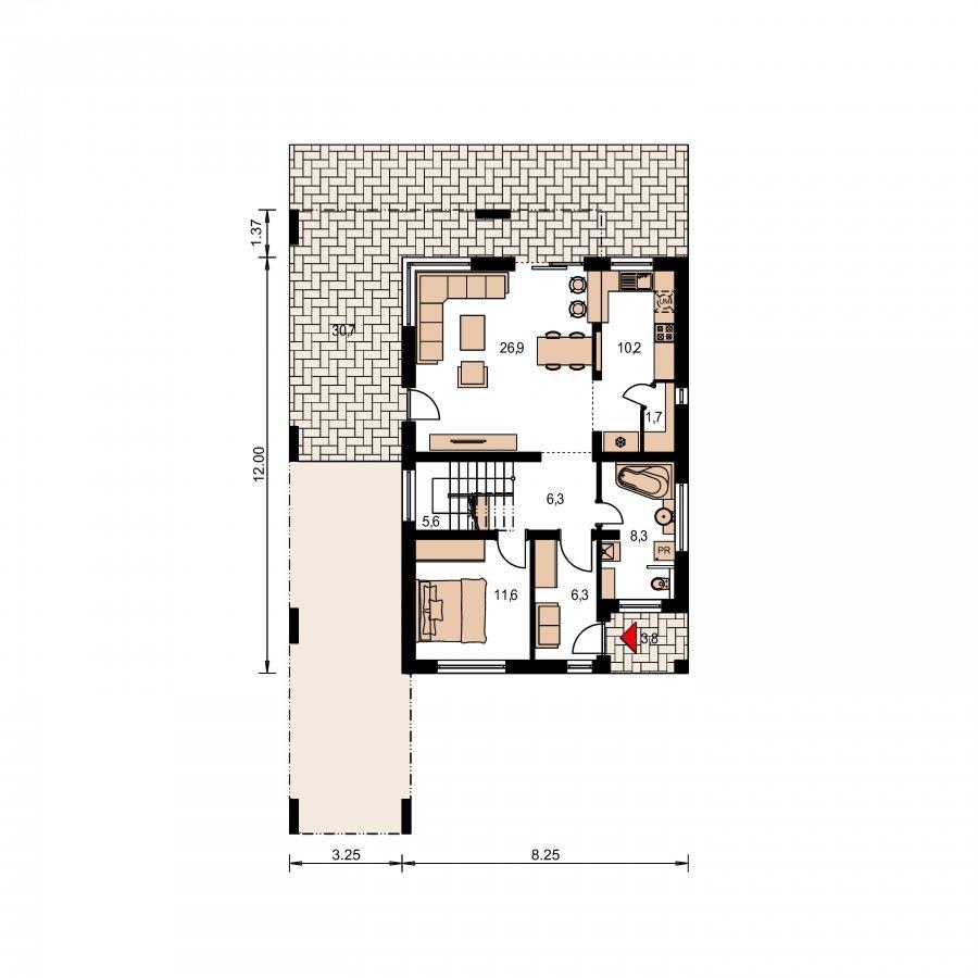 Pôdorys Prízemia - Moderný dom s krytým státím aut
